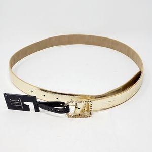INC Womens Rhinestone Buckle Belt Metallic Gold